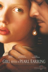 Meitene ar pērļu auskaru plakāts